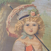 Victorian Chromolithograph of Little Girl with Parasol