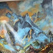 "Large 30"" x 23 3/4"" Oil on Canvas Signed Painting  Mountain / Water Landscape"