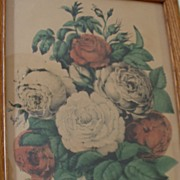"Original Currier & Ives  Print "" The Boquet of Roses""  1862"