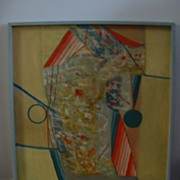 Large Abstract Oil on Hard Board by Artist William Metzger