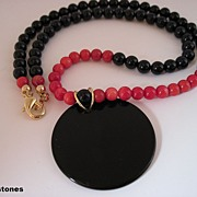 Sleek And Stylish Black Onyx And Red Bamboo Coral Single Strand Necklace