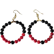 Stylish Black Onyx And Bright Red Bamboo Coral Hoop Earrings
