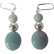 Pretty Aqua Color Amazonite And Silver Dangle Earrings