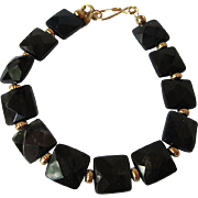 Spectacular Shimmering Green Goldstone Single Strand Bracelet