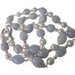 White Lotus Pearls And Blue Lace Agate Single Strand Necklace