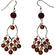 Sterling Silver, Citrine, Carnelian And Baltic Amber LOng Dangle Earrings