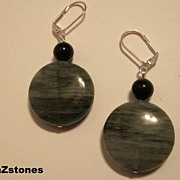 Natural Green Line Jasper And Golden Sheen Obsidian Earrings