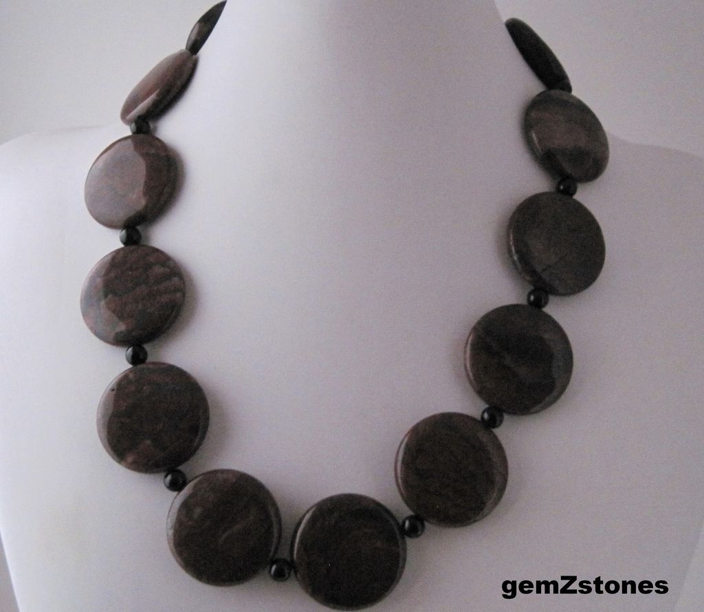Earthy Red Picture Jasper And Black Onyx Single Strand Necklace