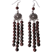 Earthy Red Picture Jasper Long Dangle Earrings