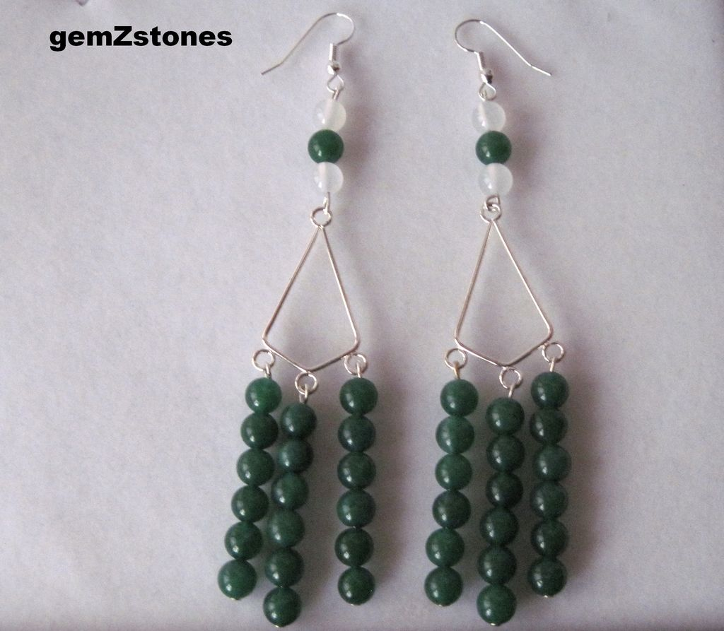 Extra Long White Agate And Green Aventurine Dangle Earrings