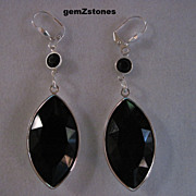 Elegant Faceted Black Swarovski Crystal Dangle Earrings