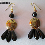 Pretty Black Onyx And Gold Dangle Earrings