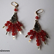 Pretty Bright Reddish Orange Faceted Carnelian Earrings