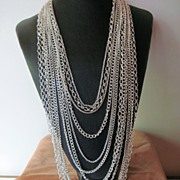 Twelve Stand Silver Plated Chain Necklace