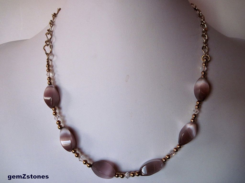 Delicate Lavender Cats Eye, Swarovski Crystal And Gold Single Strand Necklace