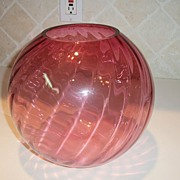 Vintage Cranberry Swirl North American Art Glass Rose Bowl