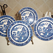 Vintage Wedgwood Willow Blue Bread Plates England