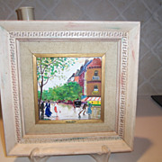 Vintage Oil on Tile C H Nicoise French Paris Street Painting