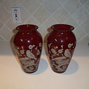 Vintage Ruby Glass Austrian Vase Pair with Birds/Flowers