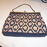 Vintage Beaded Cobalt on Tapestry Evening Bag