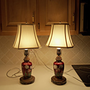 Vintage Japanese Fish Scale Red Cloisonne Lamp Pair