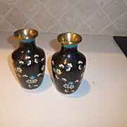 Vintage Chinese Cloisonne Pair of Cobalt Vases