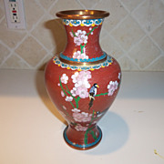 Vintage Chinese Red Floral Cloisonne Vase
