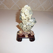 Vintage Soapstone Chinese Carved Bonsai Tree and Base