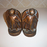 Vintage Bronze Girl by BLOCH NYC SIGNED Bookends