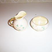 Belleek Shamrock Open Sugar Bowl and Creamer Ireland