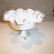 Vintage Fenton Ruffled Bowl Dish with Violets Signed