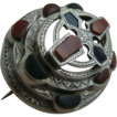 Superb Victorian Scottish Engraved Five Tiered Silver Agate Brooch