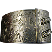 SALE Rare Art Nouveau Engraved Birmingham Sterling Cuff Bracelet - Superb