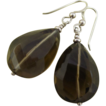 Splendid Smoky Quartz or Cairngorm Crystal Vintage Sterling Earrings
