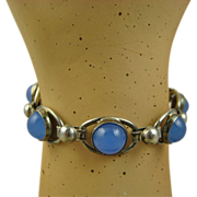 Modernist Herman Siersbol Chalcedony Sterling Bracelet ~ 1960s