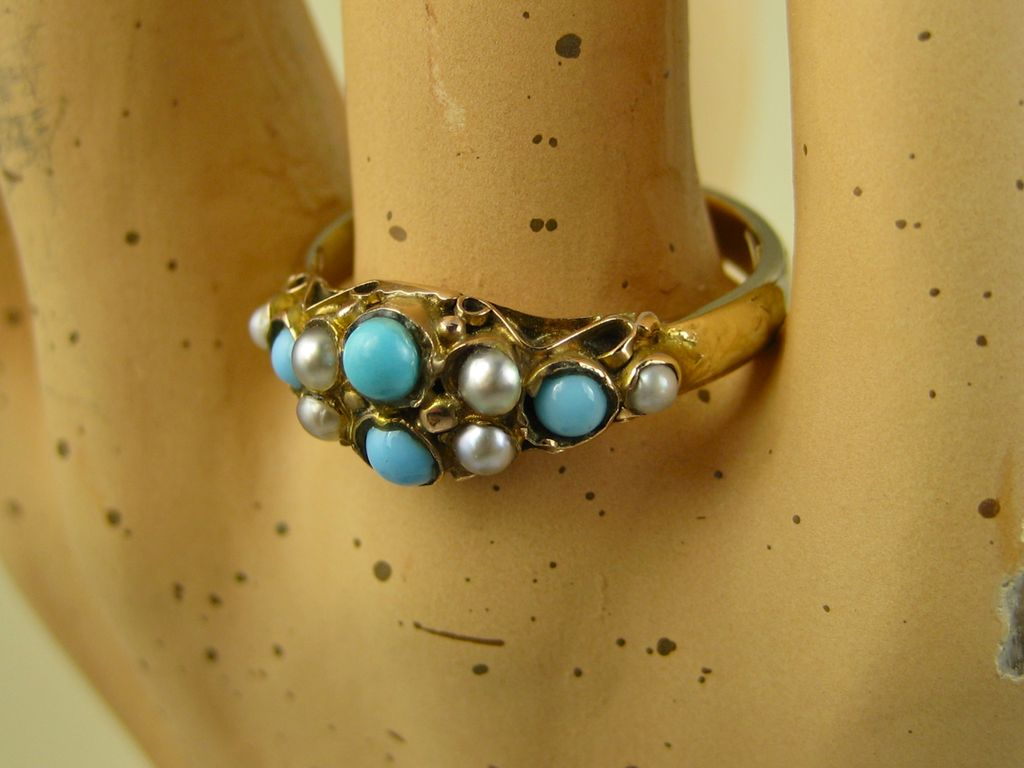 Antique Edwardian 9ct Gold Turquoise & Pearl Ring