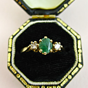 Fine Art Deco Emerald and Diamond 9ct Gold Ring ~ 1920s