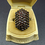 Early Art Deco Bohemian Garnet 3 Tiered Silver Ring ~ Huge & Stunning
