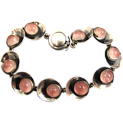 Niels Erik From Danish Modernist Sterling and Rose Quartz Bracelet ~ 1960s