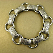 Antique Victorian Sterling Chased Bracelet ~ c1860