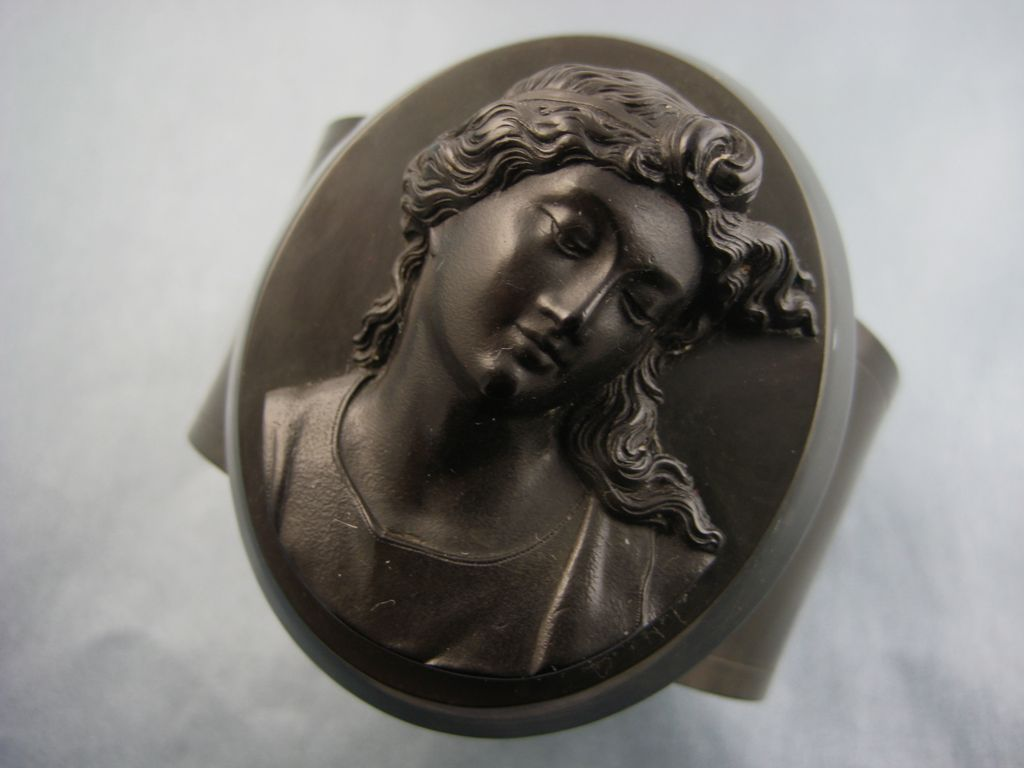 Superb Antique Victorian Vulcanite Cameo Mourning Bracelet ~ c1880s