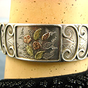 Superb Antique French Silver & Gold Aesthetic Bracelet ~ c1890