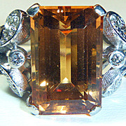 SALE Vintage Imperial Topaz & Platinum Diamond Ring.