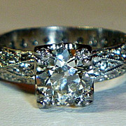 SALE Vintage Platinum & Diamond ring