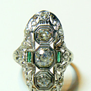 SALE Vintage Art Deco 20 K White Gold Diamond & Emerald Ring