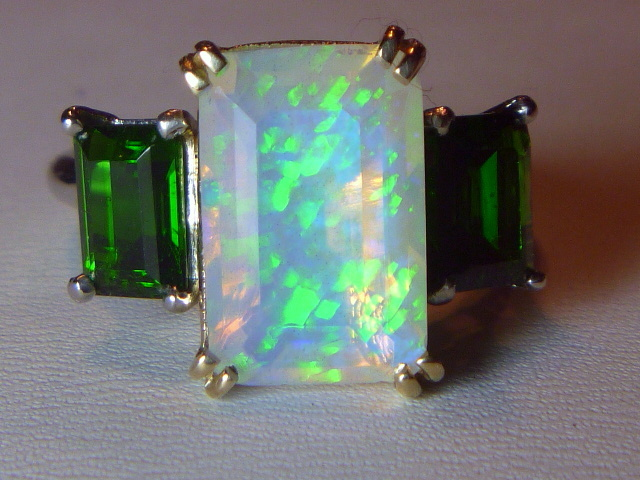 vintage emerald cut opal diopside platinum 14k ring from