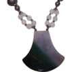 Vintage Handcrafted Agate Slice with Quartz Crystals Necklace
