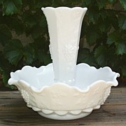 Westmoreland Paneled Grape Milk Glass Epergne
