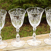 Fostoria Meadow Rose Wines Set of 4