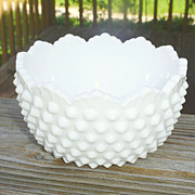 Fenton Milk Hobnail Ice Cream Bowl--Scarce